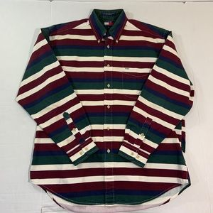 Vintage Tommy Hilfiger 90s Striped Logo Shirt M